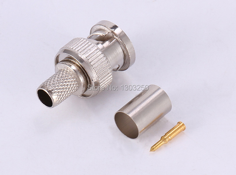 100pcs Crimp on BNC Male RG59 Coax Coaxial Connector adapter for CCTV cameras .