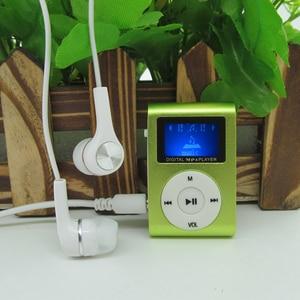 Image 3 - Sports de lecteur MP3 de Mini agrafe en métal décran daffichage à cristaux liquides avec la fente Micro de TF/SD avec lécouteur et le câble dusb lecteurs de musique MP3 portatifs