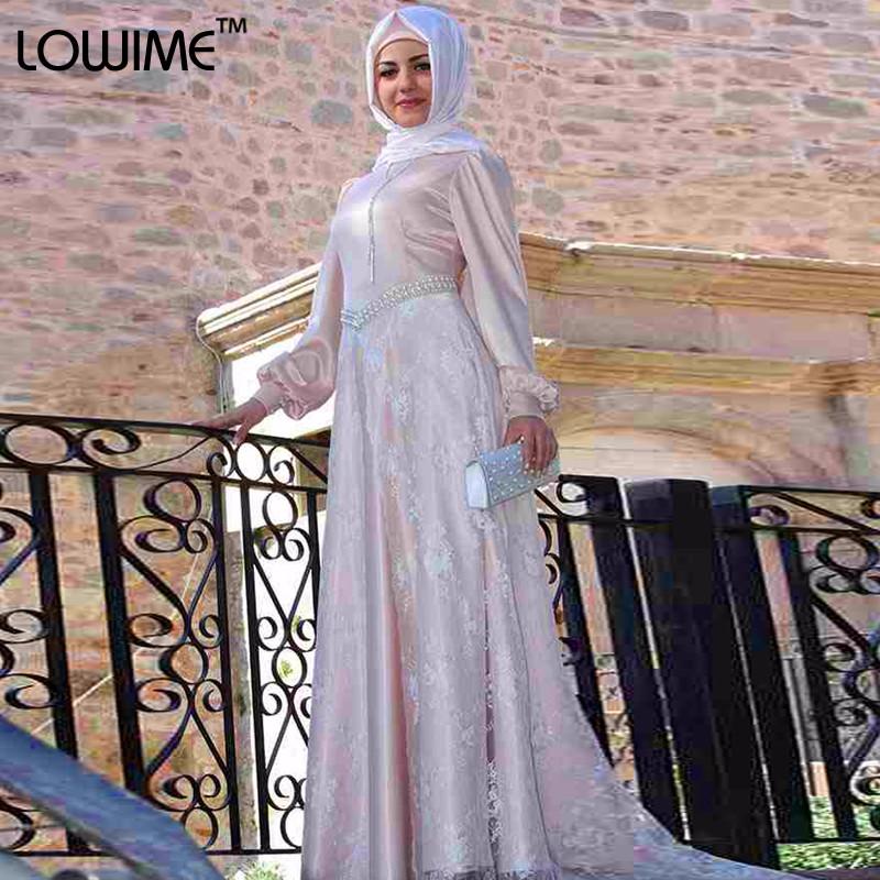 630f1517c841 Muslim Arabic Light Pink Evening Dress Long Sleeve Prom Dresses With ...