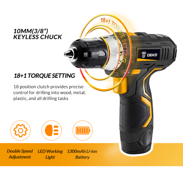 DEKO GCD12DU3 12 V Max Electric Screwdriver Cordless Drill Mini Wireless Power Driver DC Lithium-Ion Battery 3/8-Inch 2-Speed 1