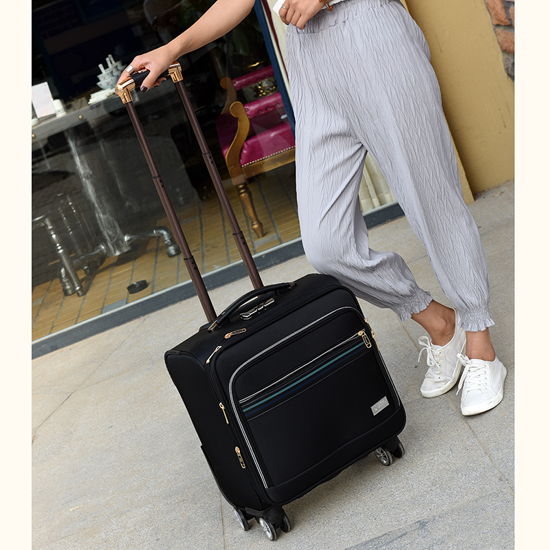 Universal wheels small travel trolley luggage drag boxes oxford fabric luggage 16 commercial