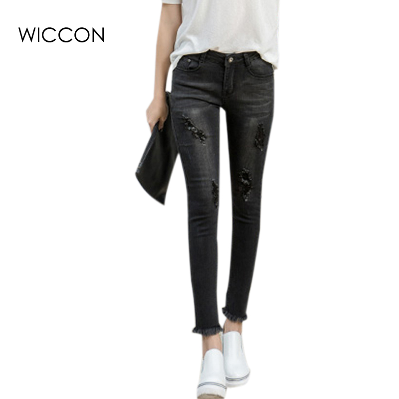 2017 Spring Women Ankle-Length Tassel Black Jeans Fashion Students Stretch Skinny Female Slim Pencil Pants Denim Pants WICCON rosicil new women jeans low waist stretch ankle length slim pencil pants fashion female jeans plus size jeans femme 2017 tsl049