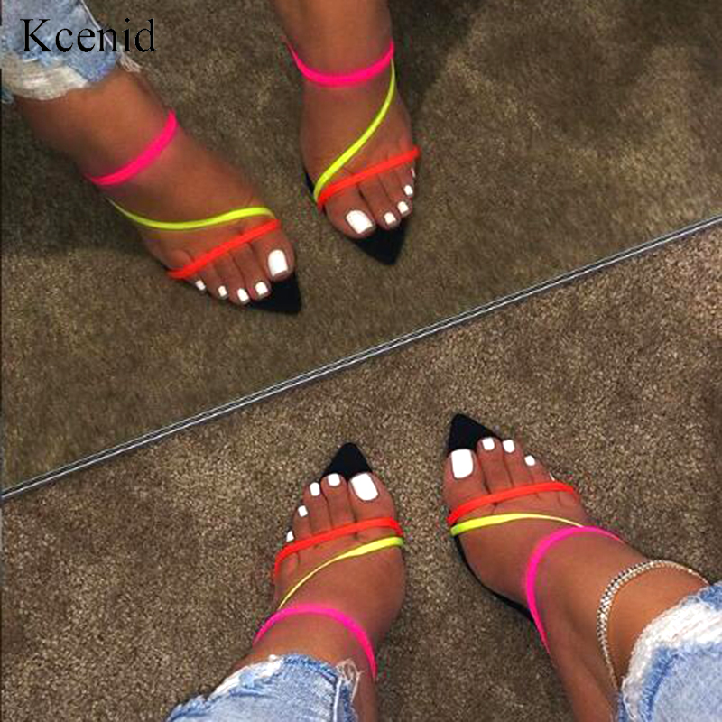 Kcenid Summer New Slippers Sexy 2019 Fashion Sandals Women Peep Toe High Heel Women Slippers Slip On Sandals Size 12 Women Shoes