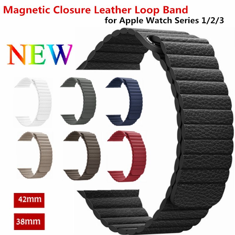 Leather loop for apple watch band strap 42mm/38mm iwatch 3/2/1 leather band bracelet belt watchband Adjustable Magnetic Closure цена