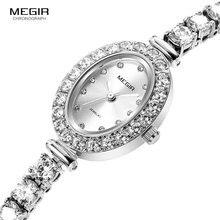 Megir kadın Metal kuvars saatler Moda 2018 Yeni Basit Analog Lüks kol saati Bayan Relogios Femininos Saat 4206 Beyaz
