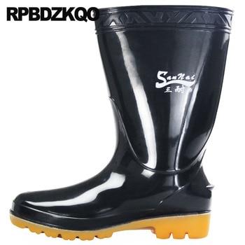 Chunky Short Designer Mid Calf Round Toe Cheap Black Waterproof Plus Size Platform Rainboots Mens Rubber Rain Boots Casual Shoes