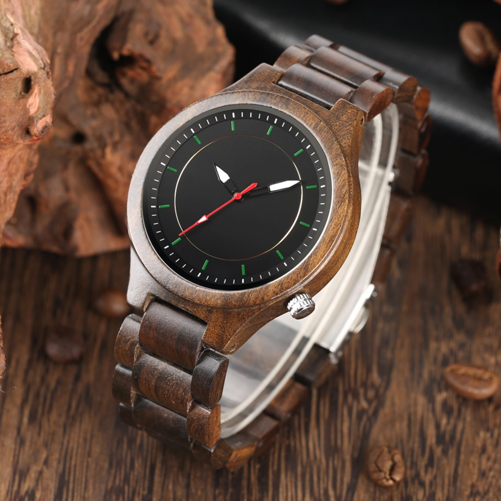 2019 nouveaux arrivants hommes montre en bois complet mouvement à Quartz Simple et mode loisirs cadran noir hommes montre-bracelet Nature à la main