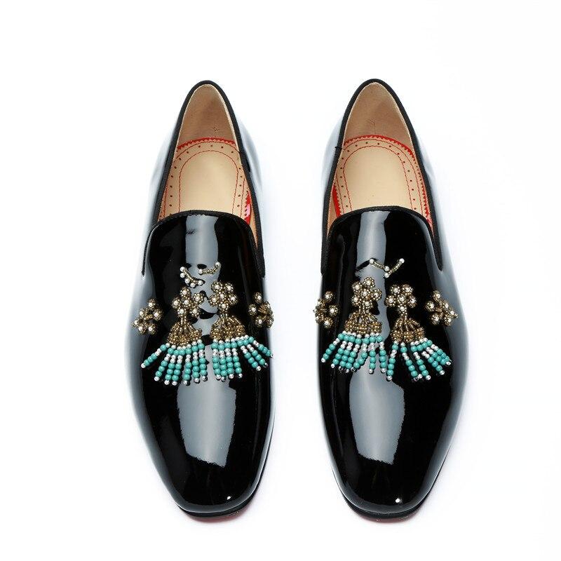 eu46 Diamantes Mocasines Charol De Imitación Qianruiti Cadena Eu39 multiple Casuales Zapatos Color Personalizado on Slip Negro Los Hombres Cordón w7qCfR