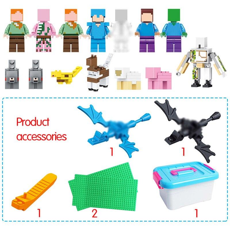 1208 pièces Mon Monde blocs de construction LegoING Minecrafted Village Cheval de Bataille Ville cabane Cascade jouets éducatifs Pour Enfants - 3
