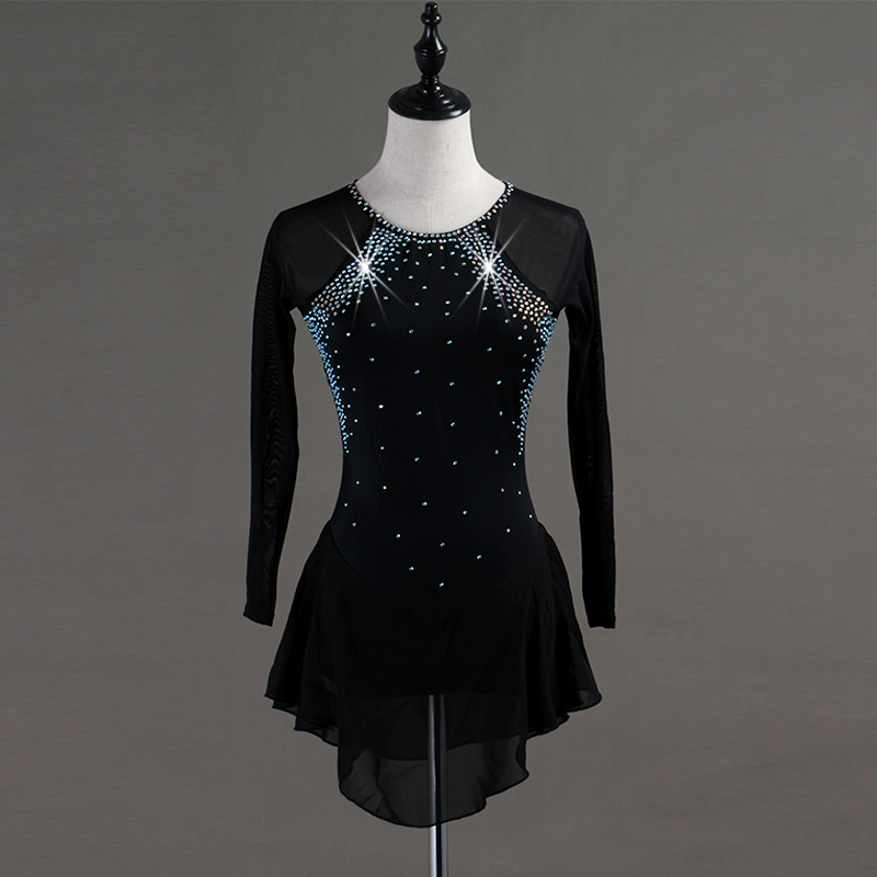 Crystal Custom Figure Skating Dress Woman Kids Girl Adult Ice Skating Dress Figure Skating Dress Long Sleeve Customizable Color