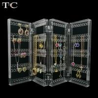Acrílico Exibir Jóias pingente brinco organizador titular de jóias Brinco Colar organizador armazena até 128 pares de brincos
