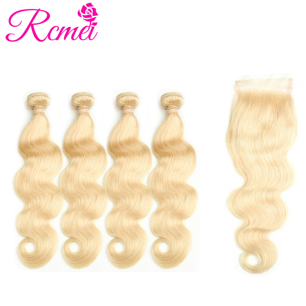 Rcmei перуанский объемная волна светлые волосы пучков с закрытием 4 Связки с 4*4 закрытия шнурка #613 не человеческих волос Бесплатная часть