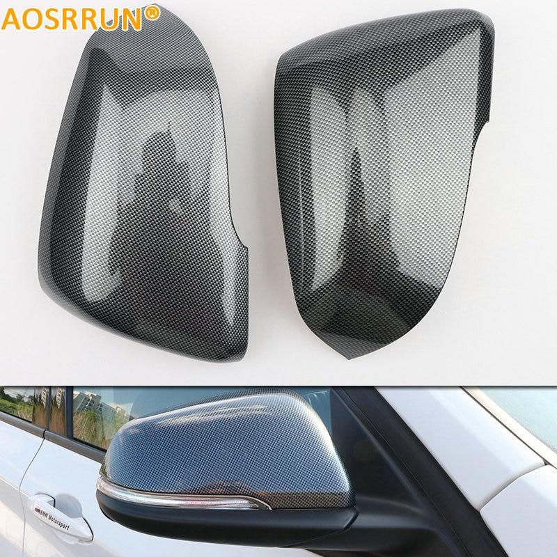 Accessoires de voiture de couverture de rétroviseur de style de fibre de carbone d'abs d'aosrrun pour BMW X1 F48 2015 2016 20i 25i 25le