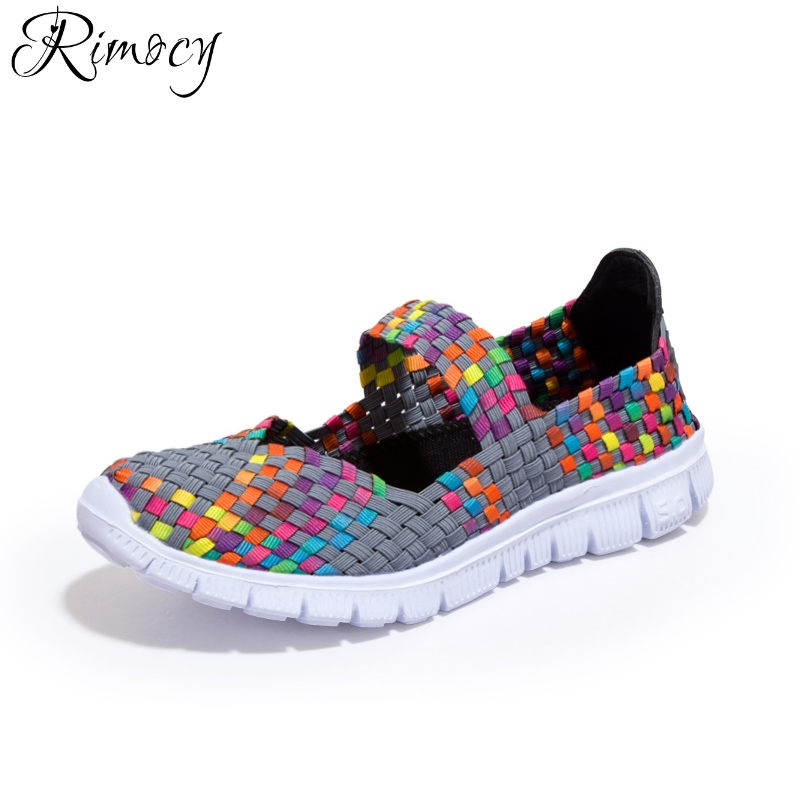 Rimocy Summer Women Flats Shoes Women Woven Flat with Multi Colors Slip on Sandals Female Breathable Ballet Sneakers Size 35-42
