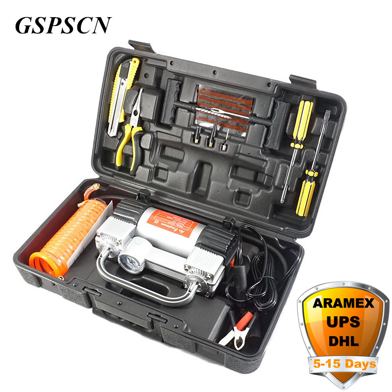GSPSCN Double Cylinder Inflatable Pump With Suitcase Car Air Compressor 12V With Toolbox Twin Cylinder Portable Inflator Pump