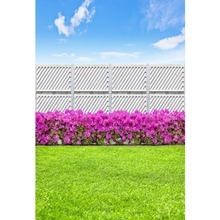 Laeacco Spring Backdrops Green Grass Lawn Blossom Flowers Screen Blue Sky Cloudy Scenic Photo Backgrounds Photocall Studio