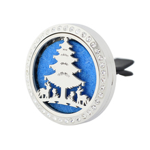 5pcs Tree 30MM Aroma Car Diffuser Locket With Rhinestone Stainless Steel Essential Oil 10 Free Pads