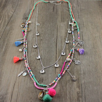 2017 New Arrived Fashion Exquisite Rainbow Tassel Glass Seed Beads String Silver Chain Bohemia Lady Dress