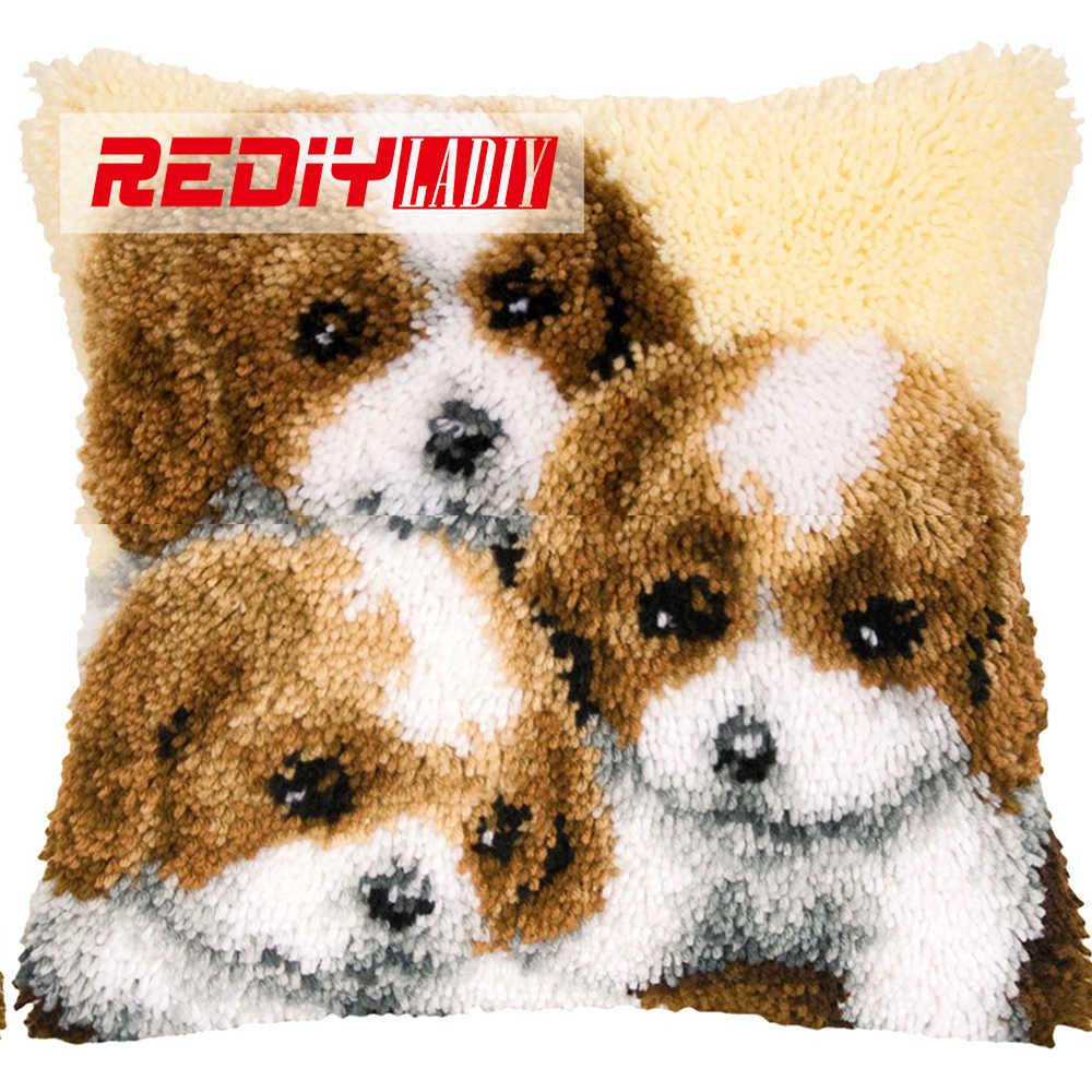 REDIY LADIY крюк защелки Подушка Наборы для вышивки с предварительным Цвет холст три щенков диван, домашний декор незаконченная подушка случае