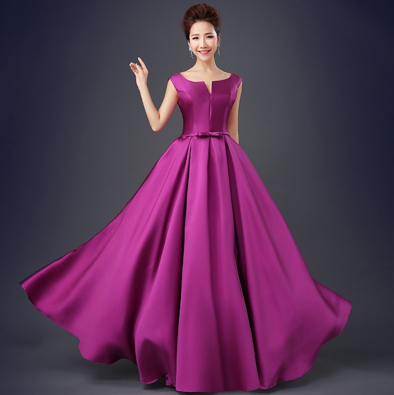 Simple Purple Evening Party Dresses 2019 Long Elegant Scoop Sexy Backless Satin Floor Length Prom Gowns robe de soriee