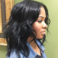 Women Synthetic Hair Lace Front Wigs Medium Wavy BOB Natural Black Full Wig Soft