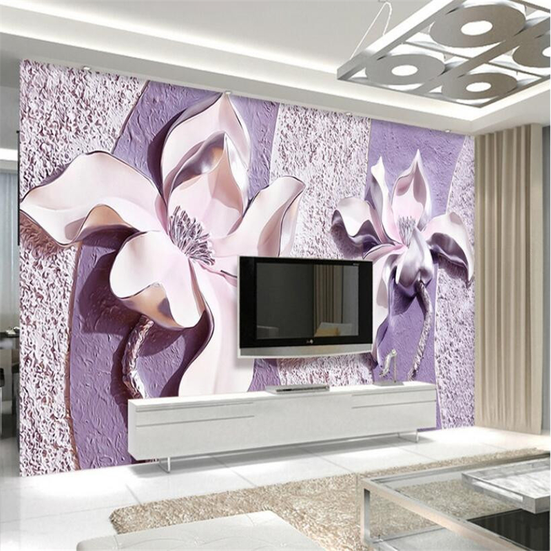 Beibehang 3D Wallpaper Relief Purple Magnolia 3d TV Backdrop 3D Living Room Bedroom Background Mural wallpaper for walls 3 d 3d ручка feizerg f001 purple fp001