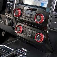 SHINEKA Accesorios del Exterior del Automóvil Aire Acondicionado de Alta Calidad y Audio Switch Anillo Decorativo para Ford F150 2016-2017