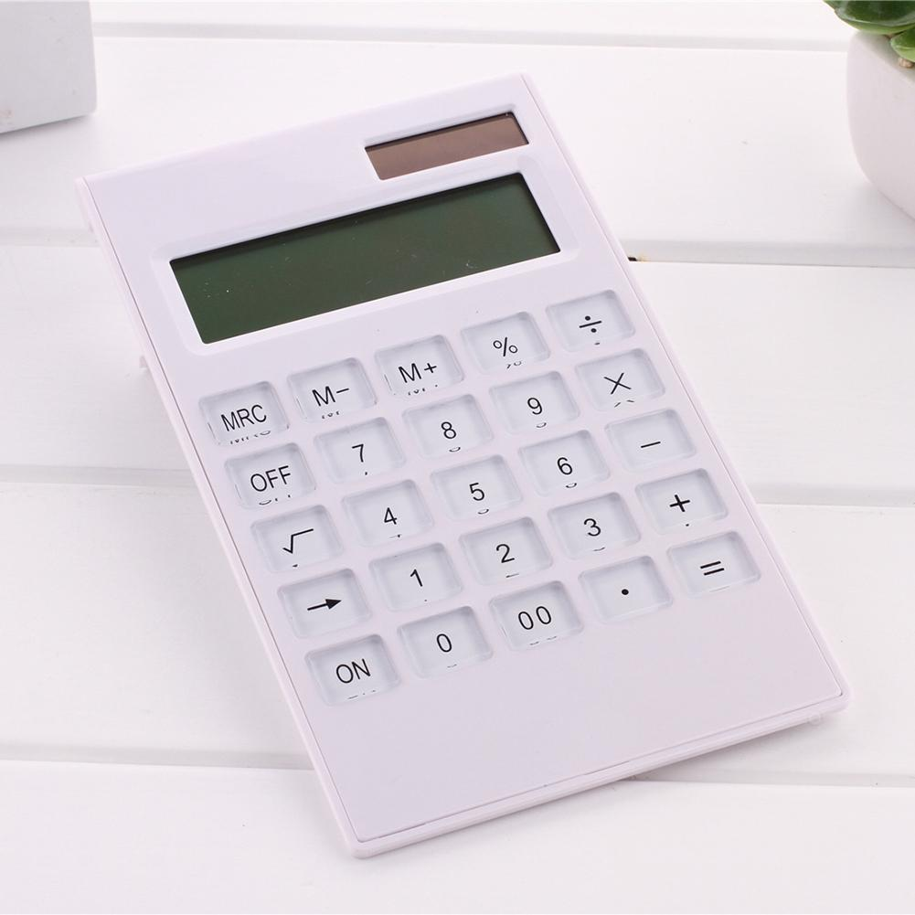 Newest Mini 12 Digital Calculator Crystal Buttons Solar Battery Dual Power Office Supplies  Keyboard Dual Power Supply