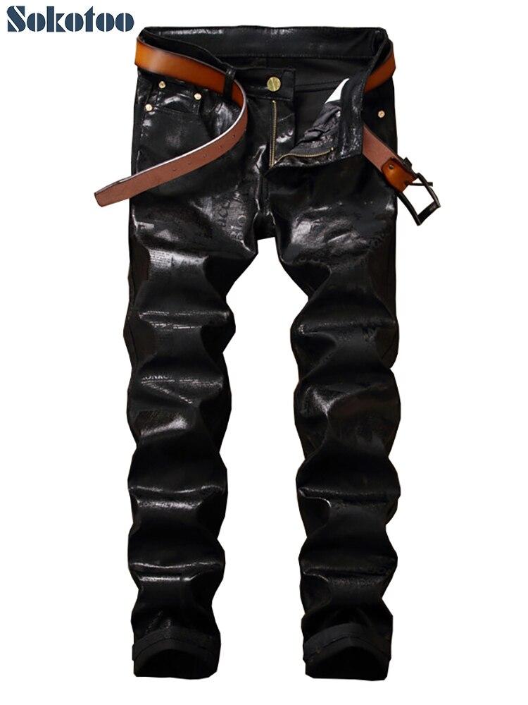 Sokotoo Men's Letters Coated Printed Jeans Trendy Slim Fit Black Long Pants