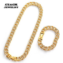 Hip Hop Iced Out Rhinestone Goud Zilver Plating Kettingen voor Mens Miami Cubaanse Link Chain Lange Ketting Armbanden Sieraden 13mm(China)