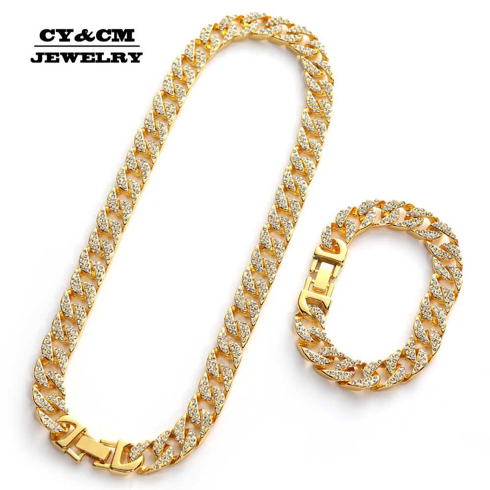 Hip Hop Iced Out Rhinestone ทองเงินชุบสร้อยคอสำหรับ Mens Miami Cuban Link Chain สร้อยคอยาวสร้อยข้อมือเครื่องประดับ 13 มม.
