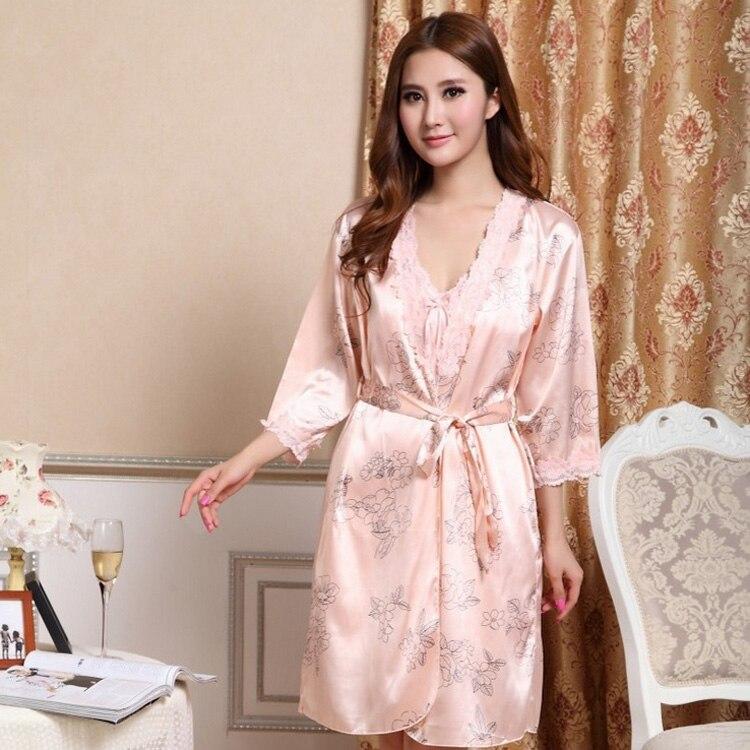2015 Women Silk Satin Robe Nightgown Set Floral Nightwear Sexy Dressing Gown  Robe Set Elegant Bathrobe Sets Lace Sleepwear-in Robe   Gown Sets from  Women s ... d431e1108c