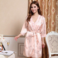 2015 Women Silk Satin Robe Nightgown Set Floral Nightwear Sexy Dressing Gown Robe Set Elegant Bathrobe Sets Lace Sleepwear