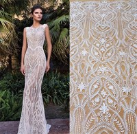 2019 NEW European designer hot IVORY wedding dress lace fabric! 1 Yard shiny Sequins lace fabric with sequins embroidery lace!