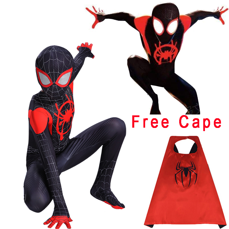 Spider Man Into The Spider-Verse Miles Morales Spiderman Costume Superhero Cosplay Zentai Adult Kids Spider-man Suit Bodysuit(China)