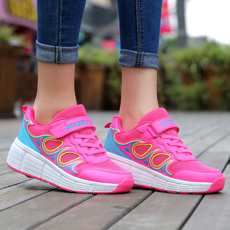 EUR28-40 Child Jazzy Heelys, Junior Girls&Boys LED light sneakers Heelys Children Roller Skate Shoes Kids Sneakers With Wheels