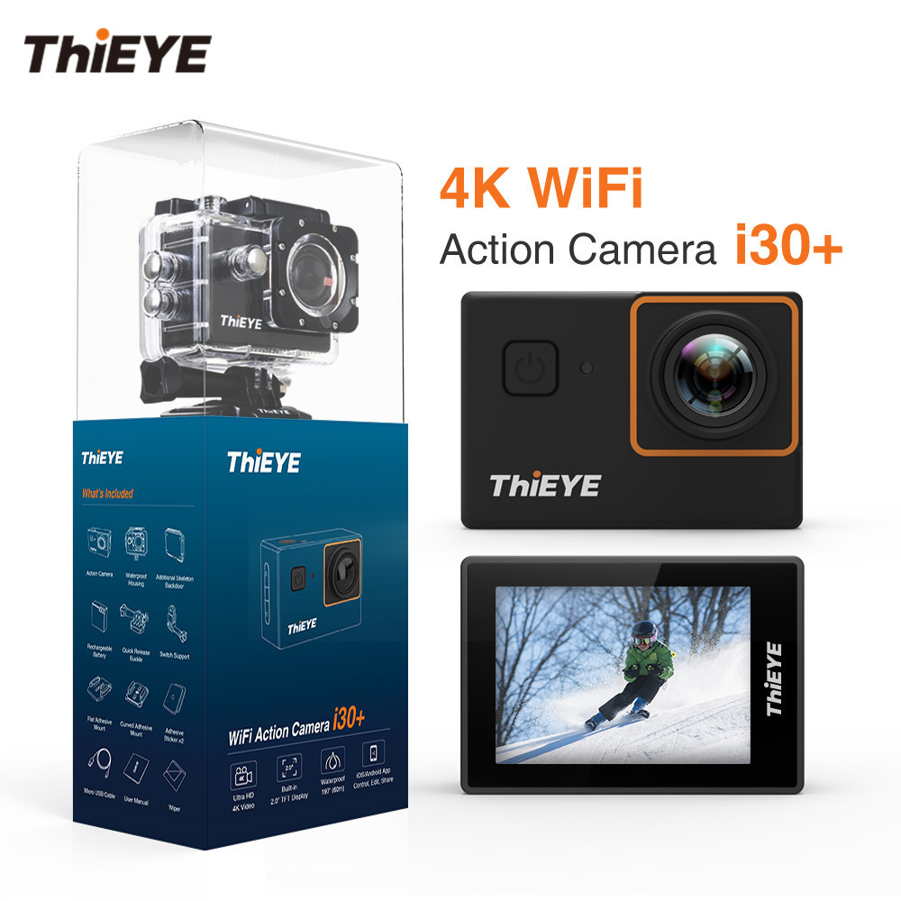 все цены на ThiEYE i30+ WIFI 4K Full HD Action Camera 60M Waterproof 2.0'' Screen Action Cam Biking Helmet Skiing Diving Sports Camera