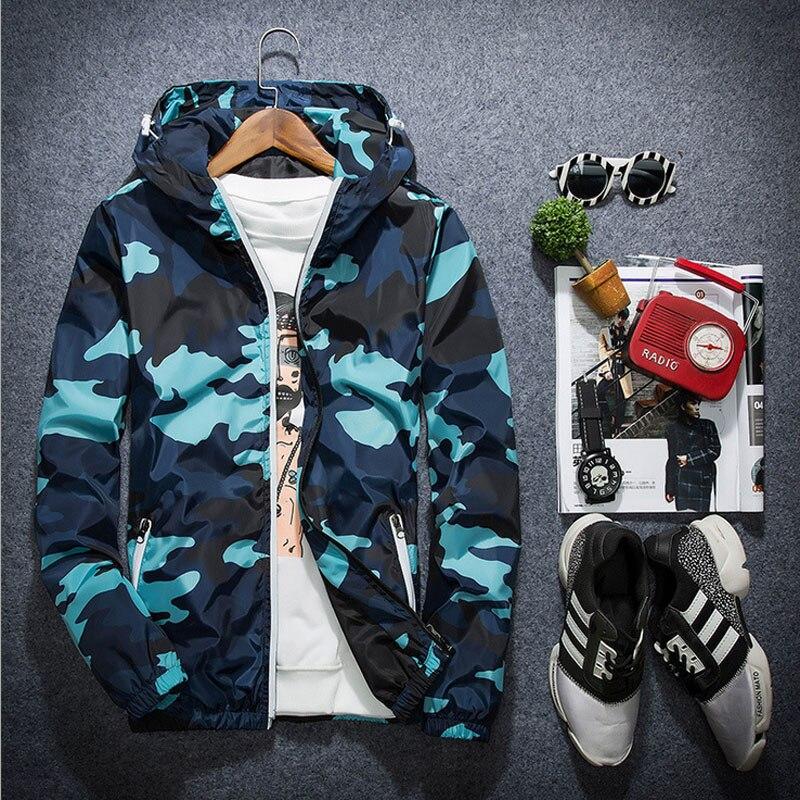 1 шт. Для мужчин молнии Куртки Пальто для будущих мам 2018 Весенняя мода высокого класса дышащей ткани камуфляж пальто с капюшоном путешествия... ...
