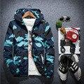 1 unids Hombres cremallera chaquetas abrigos 2016 Otoño de La Manera de alto grado telas Respirables Viajes camuflaje Con Capucha Abrigos abrigos chaqueta Mens