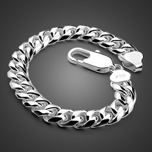 Fashion Men silver jewelry 100% 925 Sterling vintage link chain bracelet thick Cuban 8MM23cm