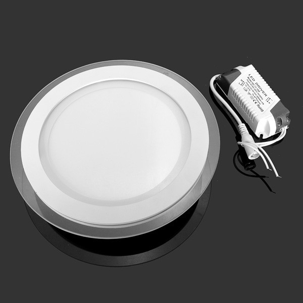 LED Panel Downlight 6W 12W 18W Round glass ceiling recessed lights SMD 5730 Warm Cold White led Panel Light AC85-265V