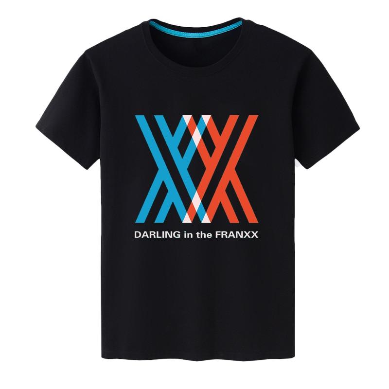 Fashion Men's Anime T-Shirt DARLING in the FRANXX Printing Summer Cotton T-Shirts Unisex Tee Top Black Short Sleeve Tshirt