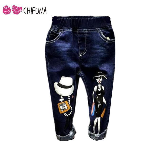 2-8 Años de la Nueva Llegada Vaqueros Niños Pantalones de Mezclilla Otoño Niños Ropa Niñas niños 2016 De La Largo Pantalones Marca