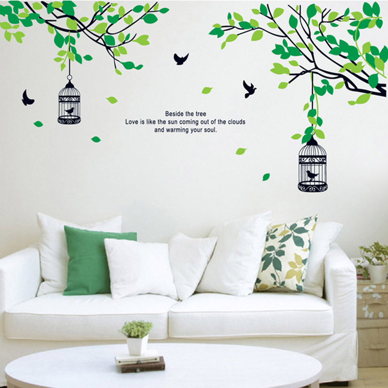 Black Bird Cage Tree Green Leaf Branch Wall Stickers Home Decorations Living Room Pvc Wall Decals Diy Mural Art Posters