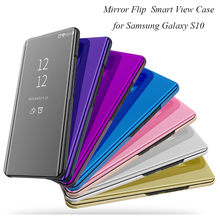 Mirror Case For Samsung Galaxy S10 Luxury Clear View Flip PU Leather Cover For Samsung S10 Smart phone Case for Galaxy S10 Shell цена