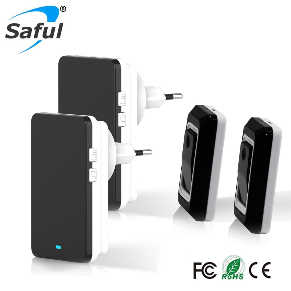 цена на Saful Waterproof Wireless Doorbell Long Distance Transmission Remote Control doorbell Push Button EU/AU/UK/US Plug for home
