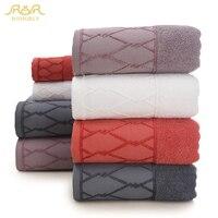 ROMORUS Thicken Egyptian Cotton Towel Set 3pcs Purple/Gray/Red/White 1 Bath Towel & 2 Face Towels Luxury Quality Soft Washcloth