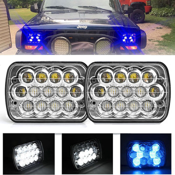 "1Pair 7""45W LED Square Headlight with Blue DRL H4 LED Headlight for Dodge Ramcharger, Dodge Ram Pickup,Chevy Silverado,Lada avto"