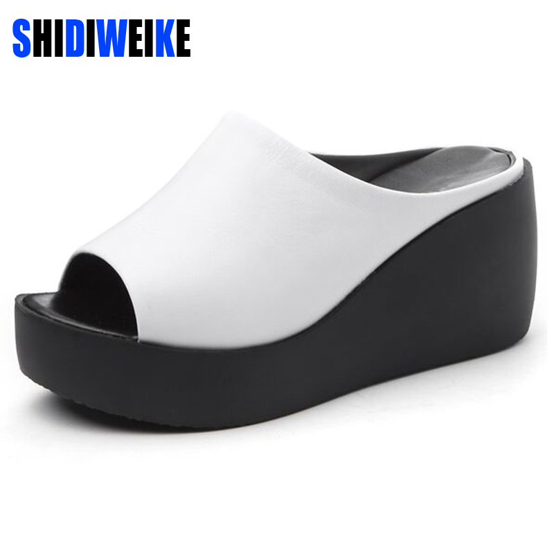 Shidiweike summer slippers sponge thick high heeled for Platform shoes with fish