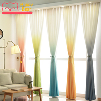 Happy Bear Solid Color Curtain Nordic Style Curtains for Window Half Shading Polyester Decorative Curtain Bedroom Custom Curtain